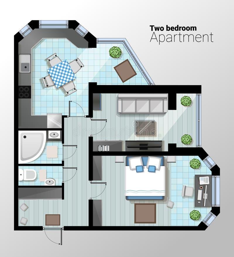 Dirigez l'illustration de vue supérieure de l'appartement à deux chambres moderne Le plan architectural détaillé de la salle à ma illustration libre de droits