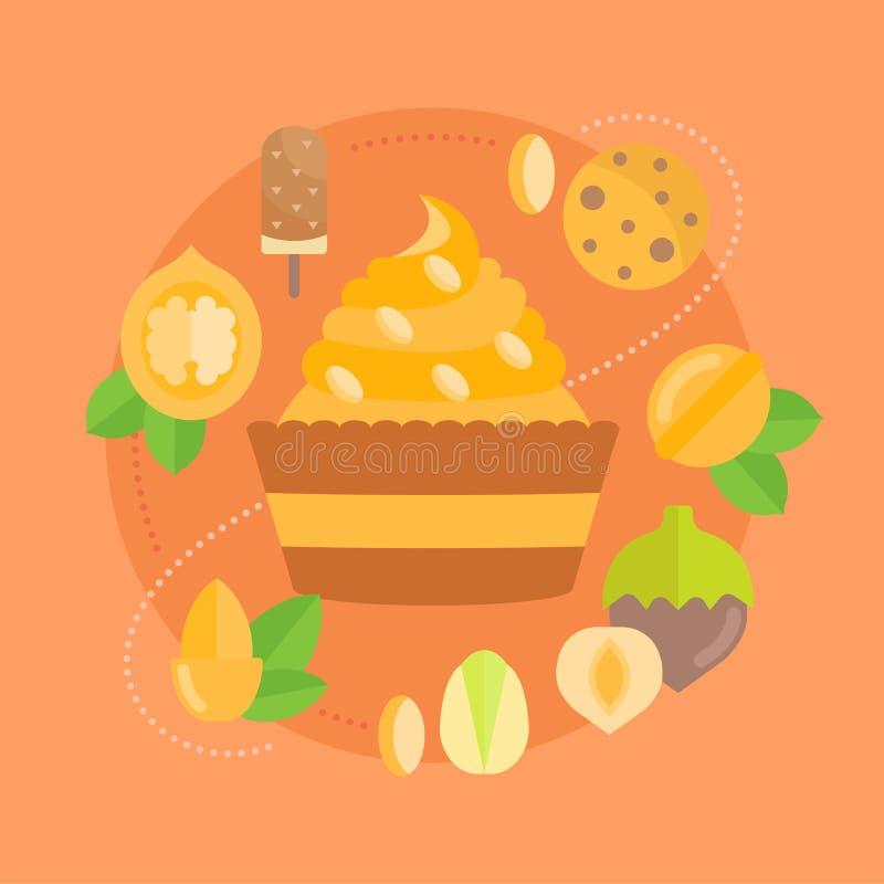 Dirigez l'illustration des bonbons et des écrous illustration de vecteur