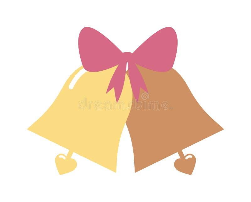 Dirigez l'illustration des cloches de mariage élégantes de couleur d'or avec des coeurs d'isolement sur le fond blanc illustration stock