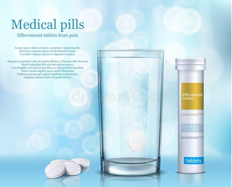 Dirigez l'illustration des comprimés ronds solubles dans un verre de l'eau et d'un récipient cylindrique blanc illustration libre de droits