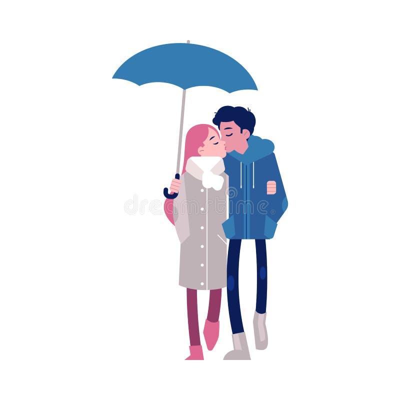 Dirigez l'illustration des couples affectueux embrassant sous le parapluie dans le style plat d'isolement sur le fond blanc illustration stock