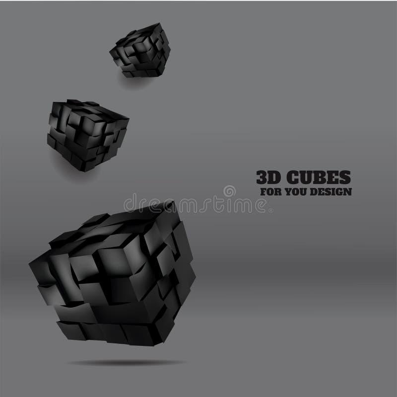 Dirigez l'illustration des cubes en noir 3d accrochant dans le ciel Fond abstrait pour votre conception illustration de vecteur