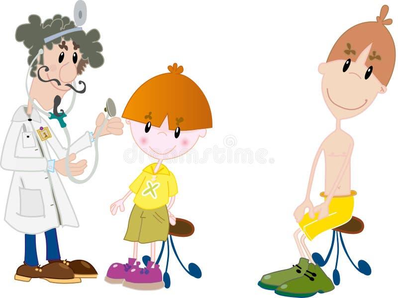 Enfants au docteur illustration de vecteur