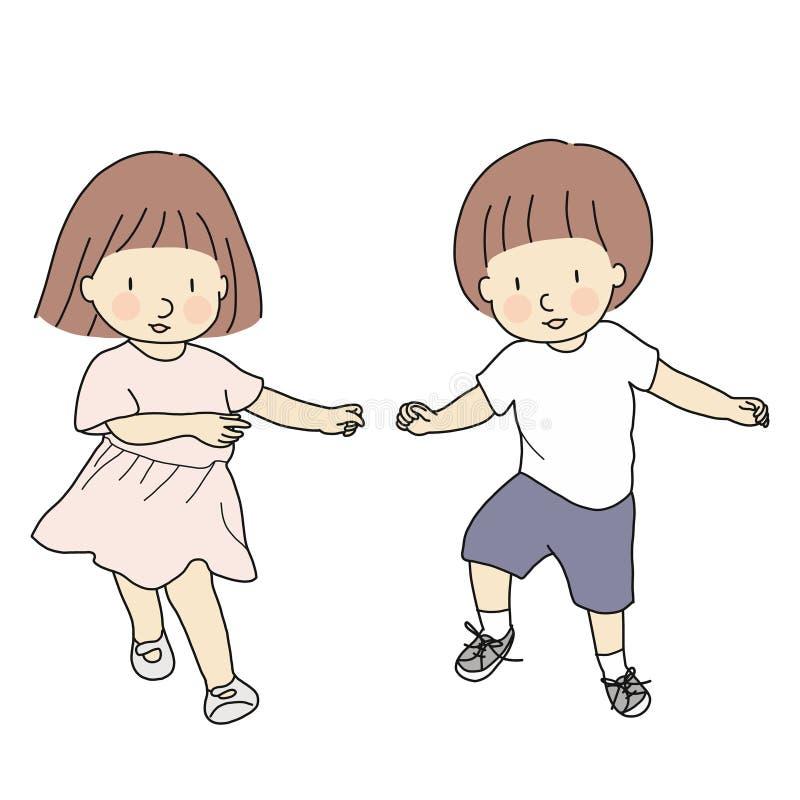 Dirigez l'illustration des enfants heureux, garçon et fille, dansant ensemble Jeu et rire Famille, frère et soeur, jumeaux illustration stock