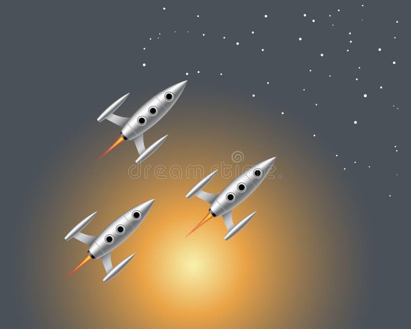 Dirigez l'illustration des fusées d'un vol trois dans le ciel étoilé illustration de vecteur