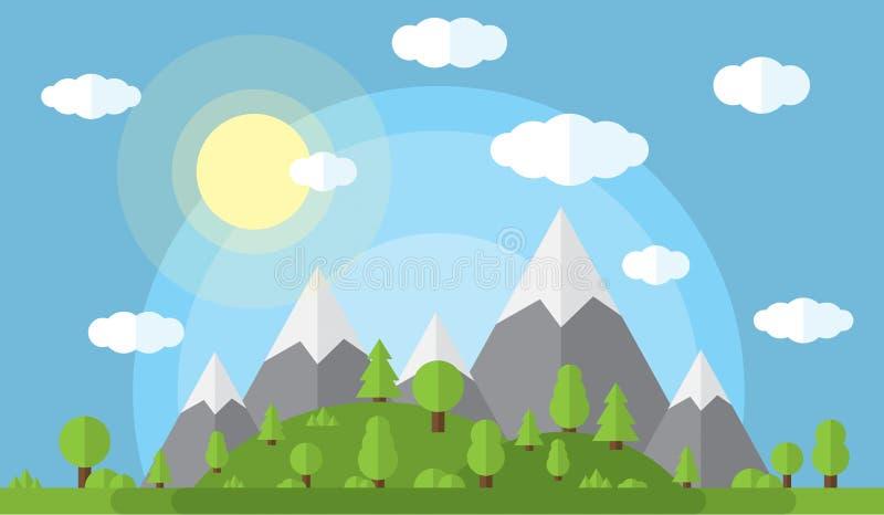 Dirigez l'illustration des hautes montagnes et des collines couvertes en bois verts, ciel clair de nuages et soleil illustration de vecteur