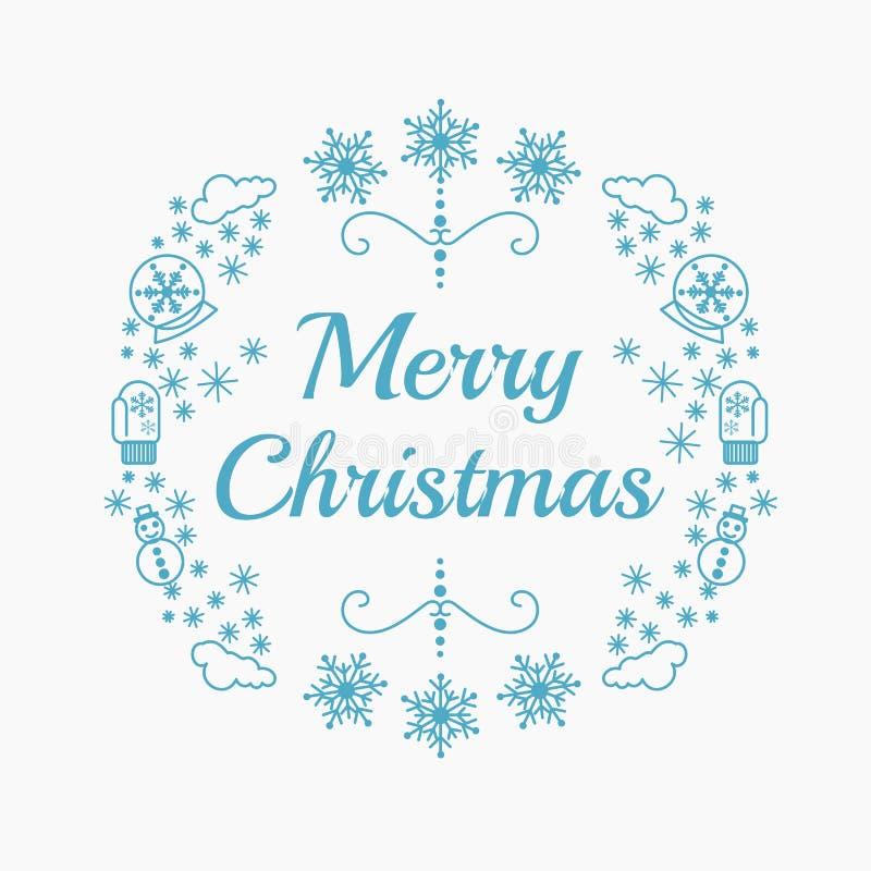 Dirigez l'illustration des icônes de Noël dans la couleur bleue sur le fond blanc Carte de voeux de Noël dans la ligne style plat illustration de vecteur