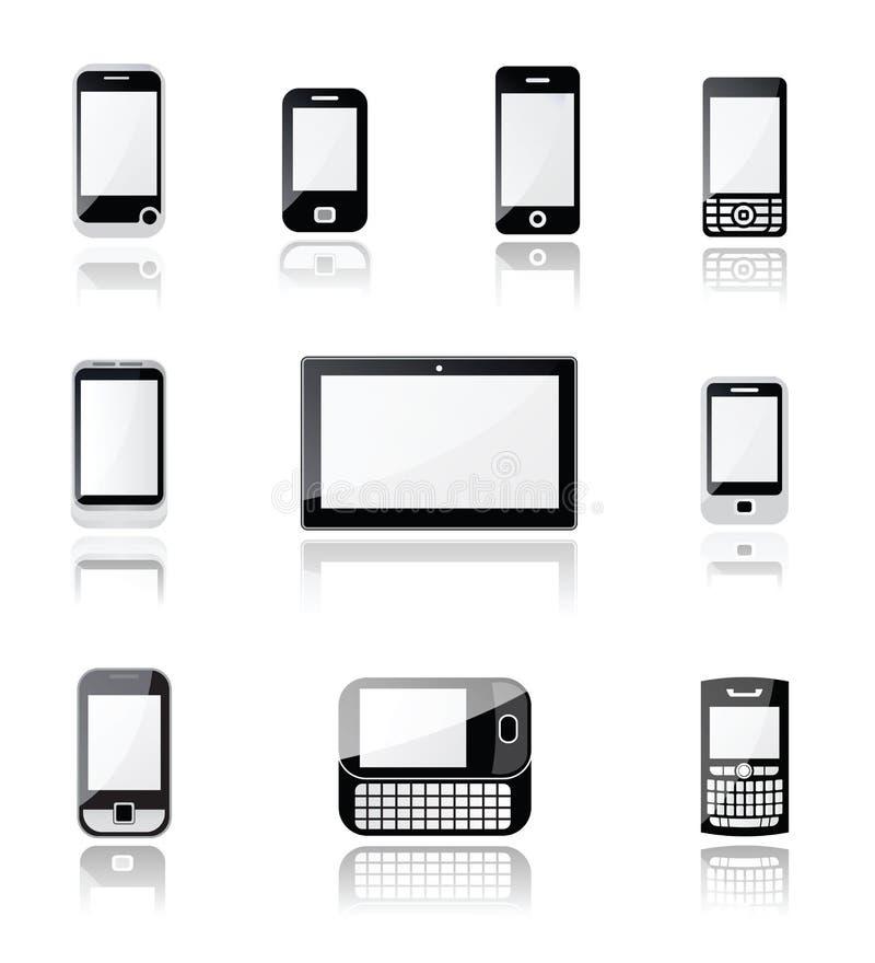 Icônes de téléphone portable et de comprimé illustration stock