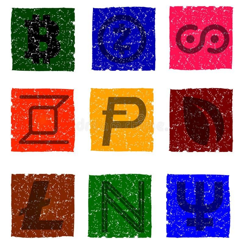 Dirigez l'illustration des icônes grunges multicolores avec des symboles de diverses devises électroniques numériques - namecoin, illustration stock