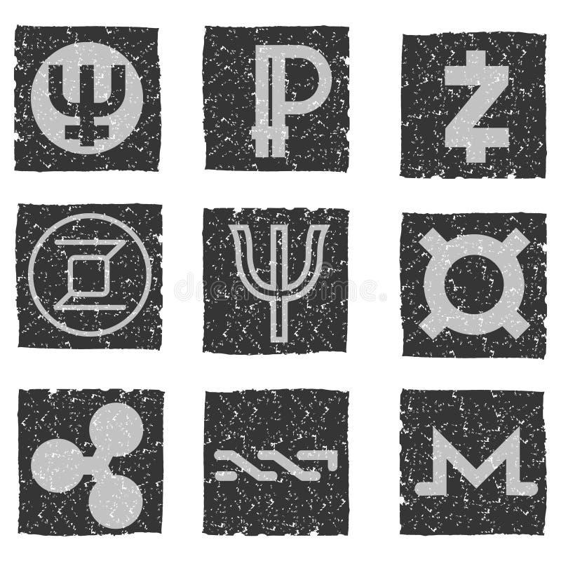 Dirigez l'illustration des icônes grunges noires et blanches avec des symboles de diverses devises électroniques numériques - pri illustration stock