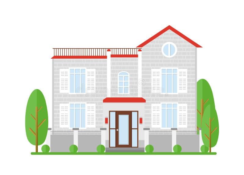 Dirigez l'illustration des immobiliers, maison à vendre Maison de rêve de famille Maison de rapport de façade, cottage, construis illustration de vecteur