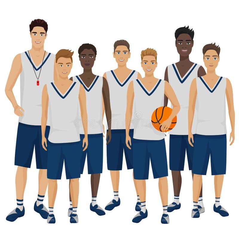 Dirigez l'illustration des jeunes joueurs de basket team avec l'entraîneur d'entraîneur portant l'uniforme illustration de vecteur