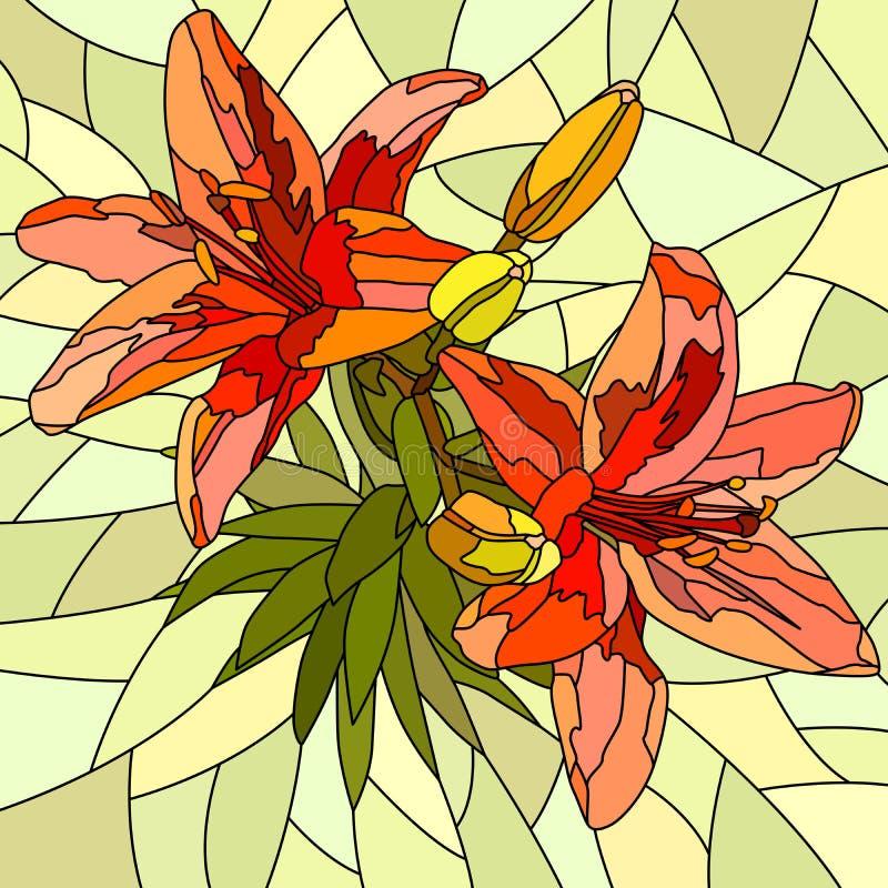 Dirigez l'illustration des lis de rouge de fleur. illustration stock