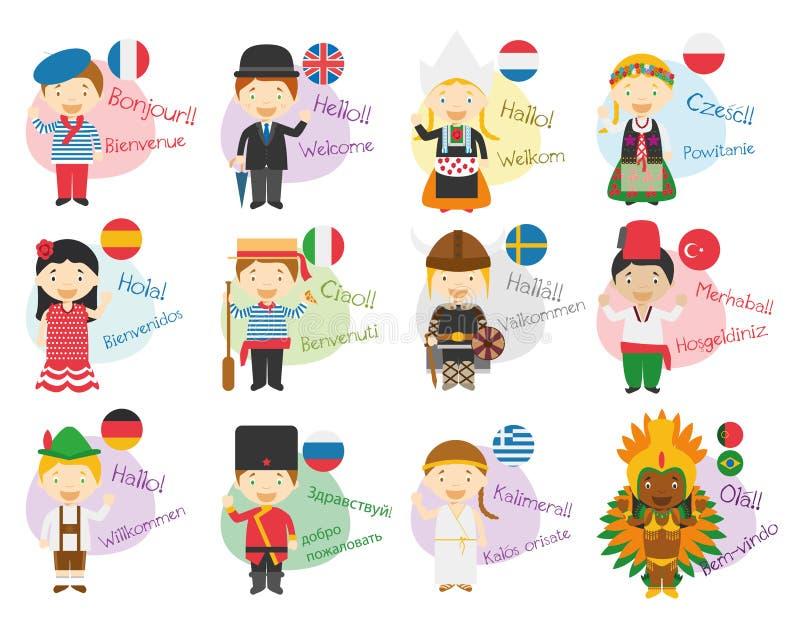 Dirigez l'illustration des personnages de dessin animé disant le bonjour et l'accueillez dans 12 langues différentes illustration libre de droits