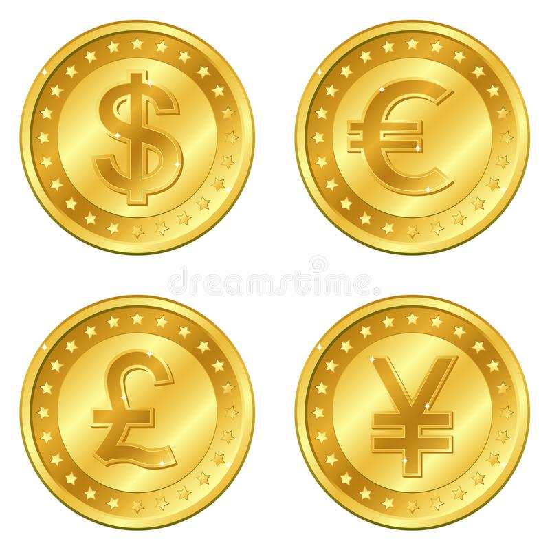 Dirigez l'illustration des pièces d'or avec 4 devises importantes Dollar, euro, livre sterling, yuans ou Yens editable illustration libre de droits
