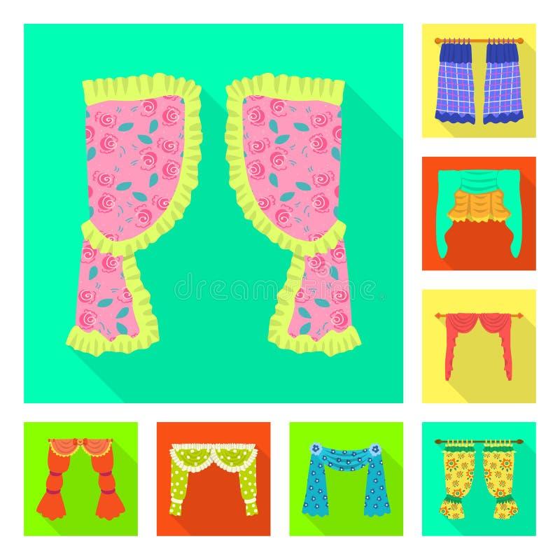 Dirigez l'illustration des rideaux et drapez l'ic?ne Collection des rideaux et de l'illustration courante de vecteur d'abat-jour illustration de vecteur