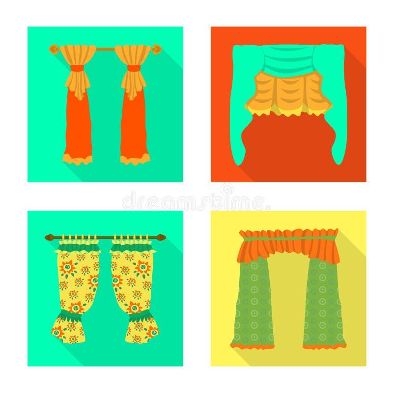 Dirigez l'illustration des rideaux et drapez le symbole Placez des rideaux et du symbole boursier d'aveugles pour le Web illustration libre de droits