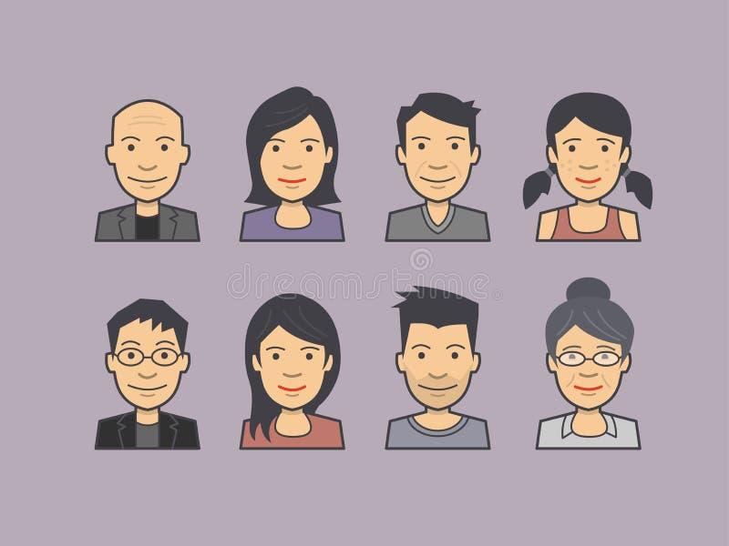 Dirigez l'illustration des visages d'avatar, caractères, icônes de personnes illustration de vecteur