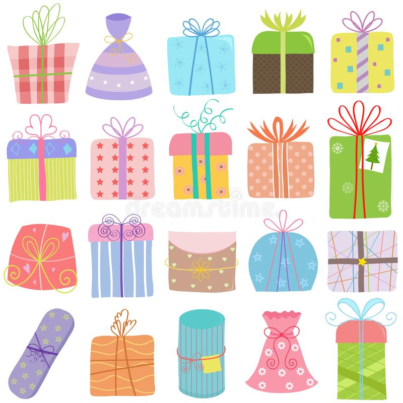 Dirigez l'illustration des WI tirés par la main de boîte-cadeau de Noël d'anniversaire illustration libre de droits