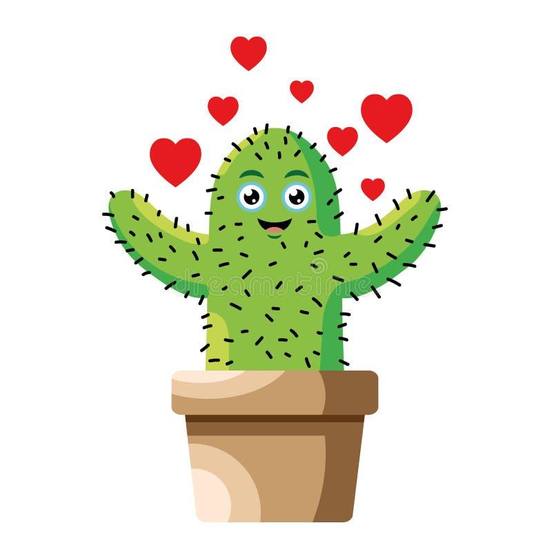 Dirigez l'illustration du cactus heureux dans l'affection exigeante d'amour illustration libre de droits