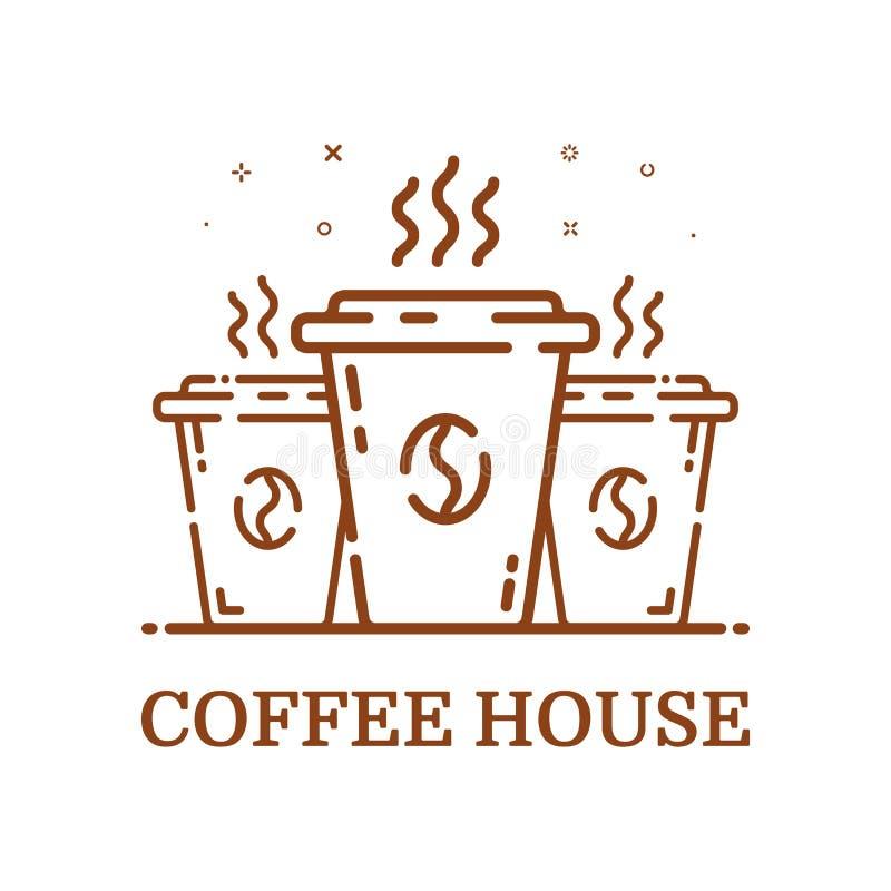 Dirigez l'illustration du café de concept d'emblème dans la ligne style Tasse brune linéaire illustration de vecteur