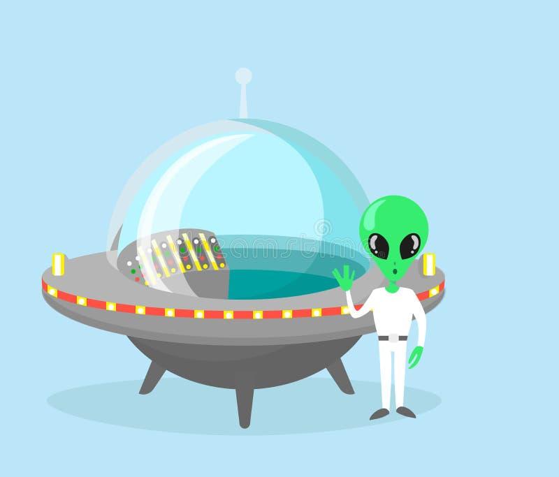 Dirigez l'illustration du caractère étranger mignon et gentil avec le vaisseau spatial sur le fond bleu-clair de couleur illustration libre de droits