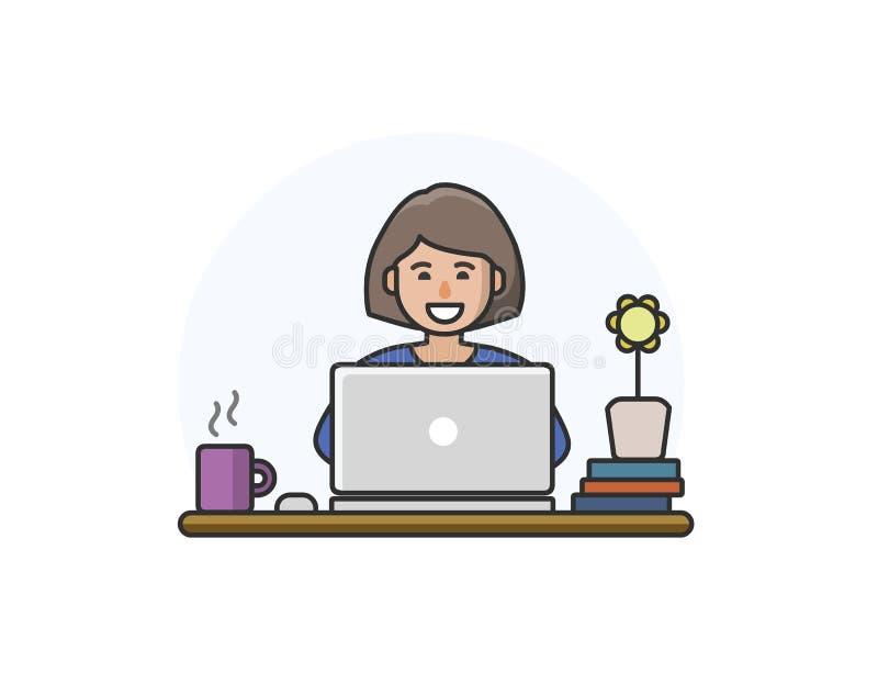 Dirigez l'illustration du caractère de femme de bande dessinée travaillant sur l'ordinateur illustration stock