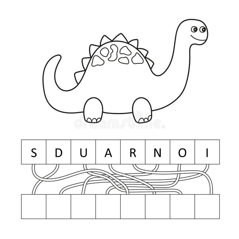 Dirigez l'illustration du caractère mignon de dinosaure de bande dessinée pour des enfants, colorant illustration stock