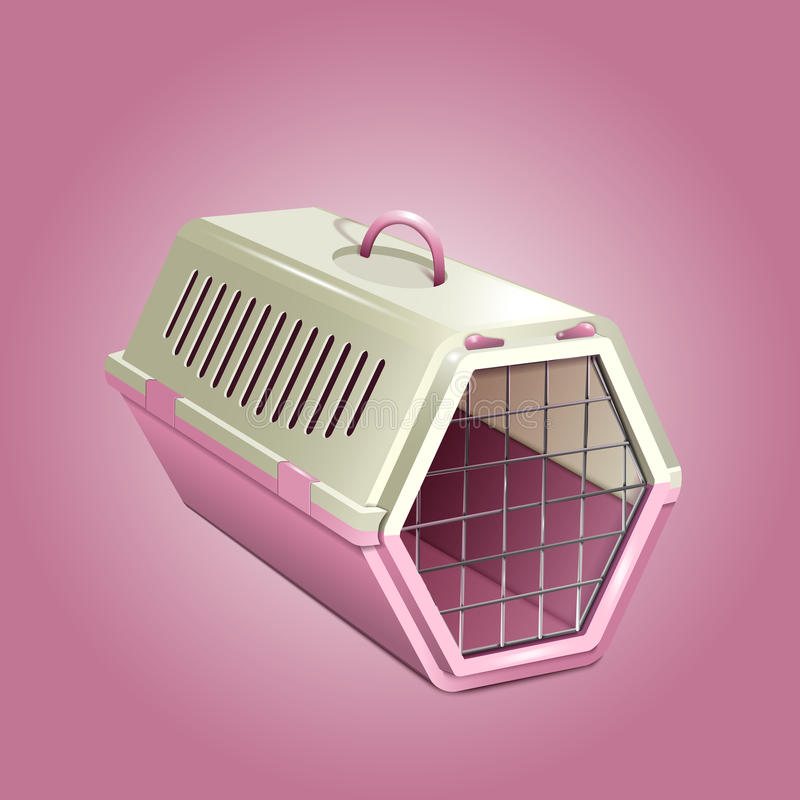 Dirigez l'illustration du chenil d'animal familier, transporteur rose de chat illustration de vecteur