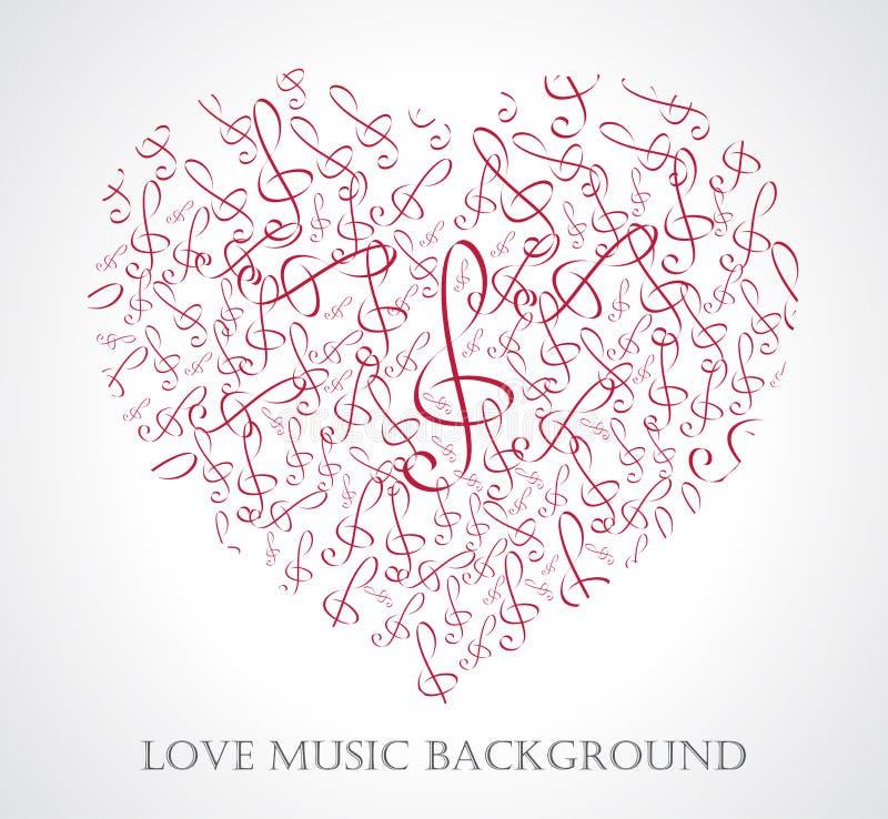 Dirigez l'illustration du coeur musical avec des notes et des signes de musique illustration de vecteur