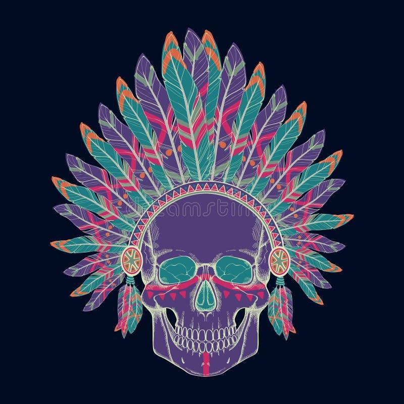 Dirigez l'illustration du crâne humain dans la coiffe en chef indienne indigène illustration stock