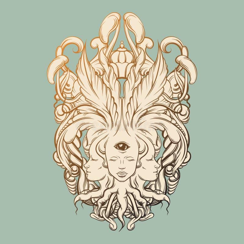 Dirigez l'illustration du diseur de bonne aventure avec trois têtes, yeux, cadre baroque floral illustration libre de droits