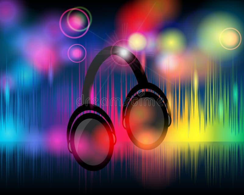 Fond de musique avec les lumières éclatantes d'arc-en-ciel illustration libre de droits