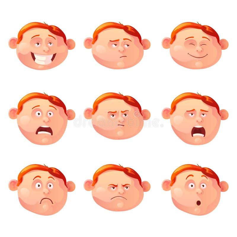 Dirigez l'illustration du garçon roux et de ses émotions illustration libre de droits