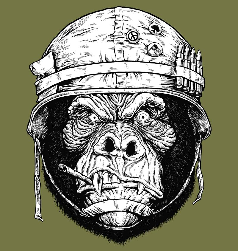 Dirigez l'illustration du gorille de 70 ` s/du soldat de singe illustration de vecteur