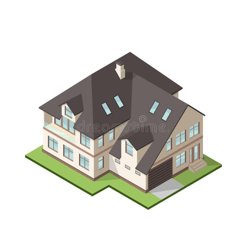 Dirigez l'illustration du grand cottage ou maison privé isométrique illustration libre de droits