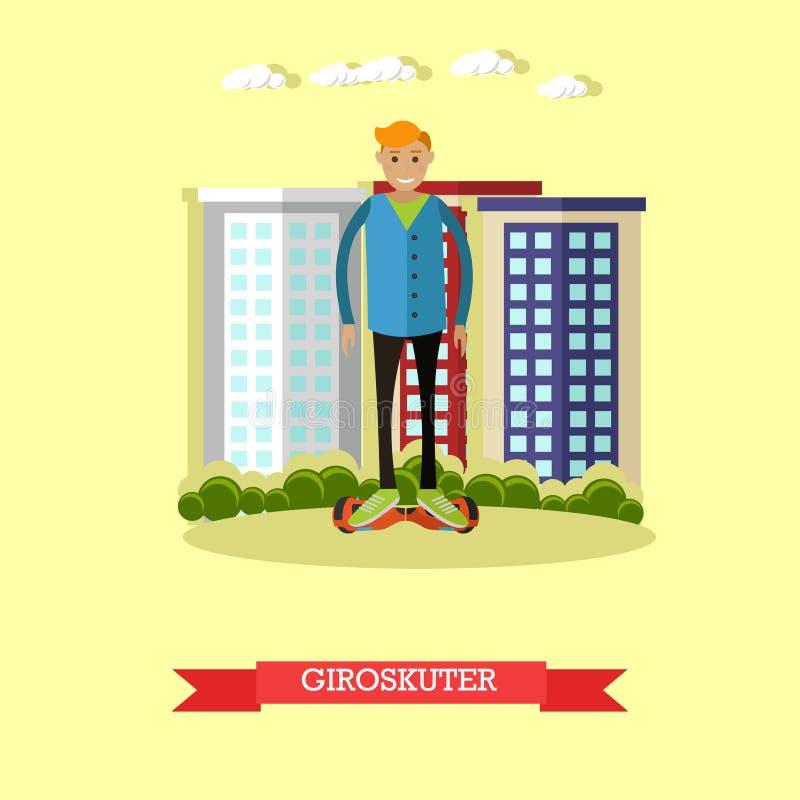 Download Dirigez L'illustration Du Gyroscooter D'équitation De Jeune Homme Dans Le Style Plat Illustration de Vecteur - Illustration du dispositif, panneau: 87706278