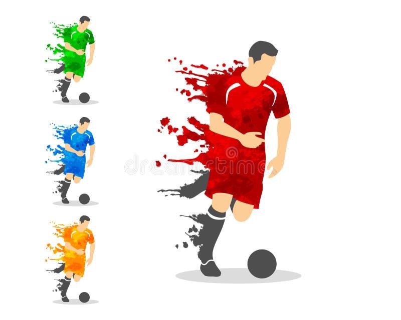 dirigez l'illustration du joueur de football ou de football dans des WI d'une action illustration stock