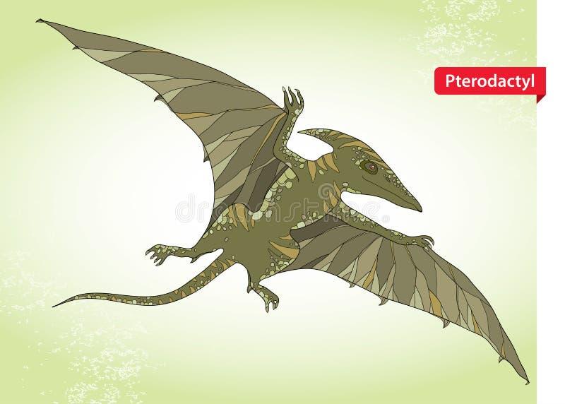 Dirigez l'illustration du lézard de ptérodactyle ou d'aile des sous-ordres de pterosaurs sur le fond vert illustration de vecteur