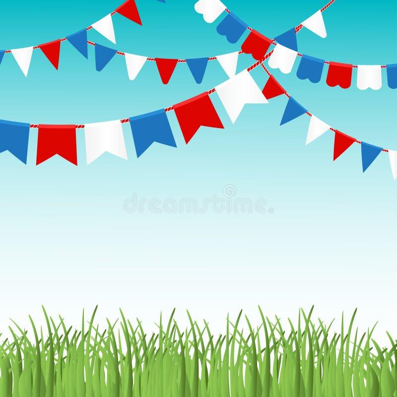 Dirigez l'illustration du landskape de ciel bleu et d'herbe verte avec les guirlandes colorées de drapeaux illustration libre de droits