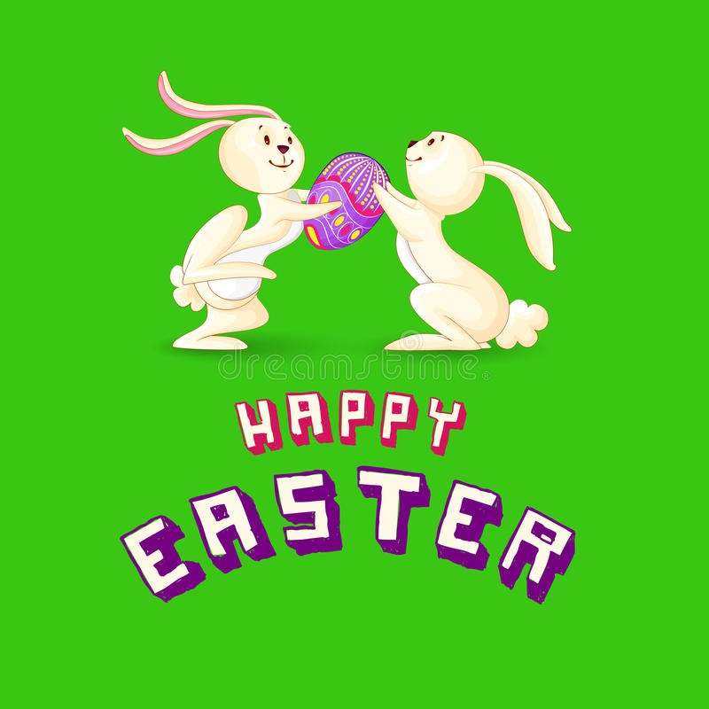 Lapin de Pâques présentant l'oeuf coloré illustration de vecteur