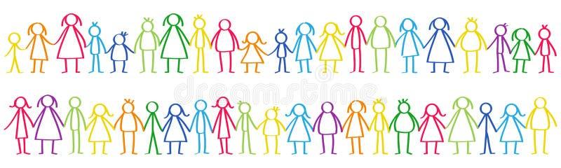 Dirigez l'illustration du mâle coloré et des chiffres femelles de bâton se tenant dans les rangées tenant des mains illustration de vecteur