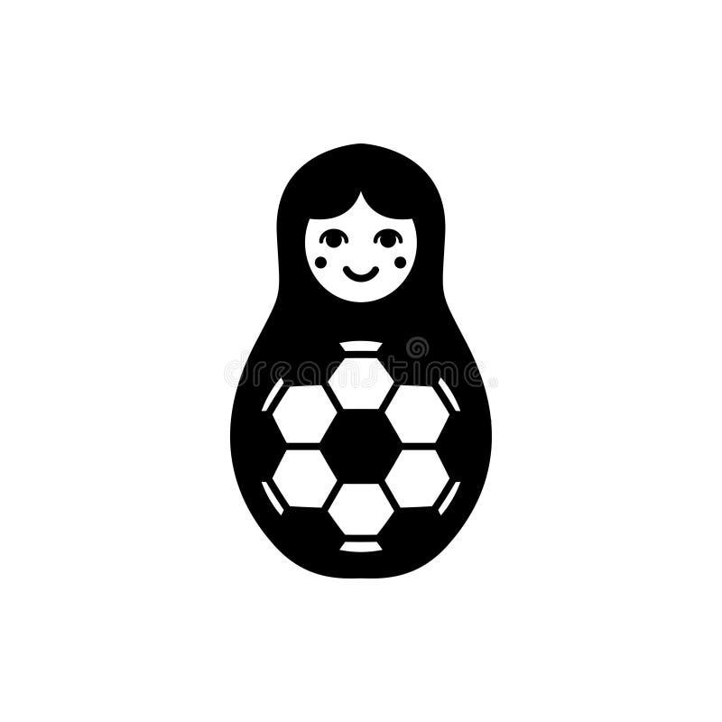 Dirigez l'illustration du matryoshka niché de poupée avec du Ba du football illustration libre de droits
