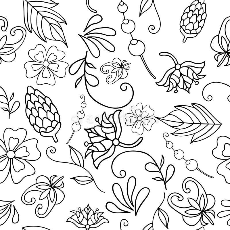 Dirigez l'illustration du modèle sans couture avec les fleurs blanc noir abstraites Page de coloration pour l'adulte Le modèle pe illustration libre de droits