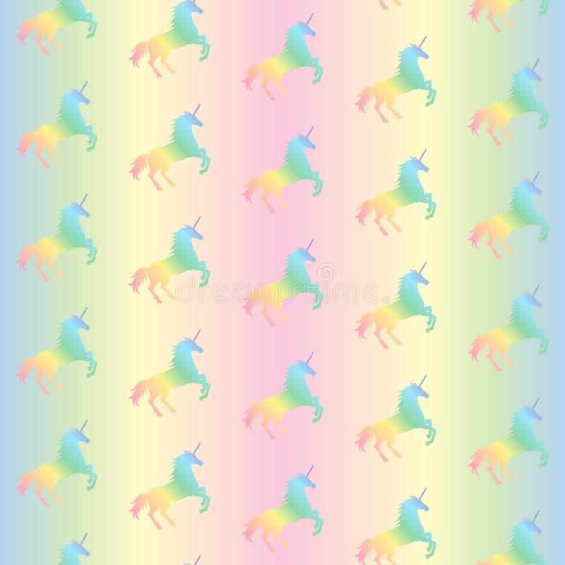 Dirigez l'illustration du modèle sans couture des licornes d'arc-en-ciel illustration stock