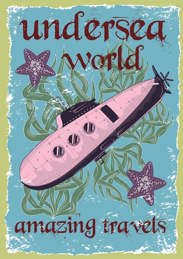 Dirigez l'illustration du monde sous-marin avec le sous-marin cru illustration stock
