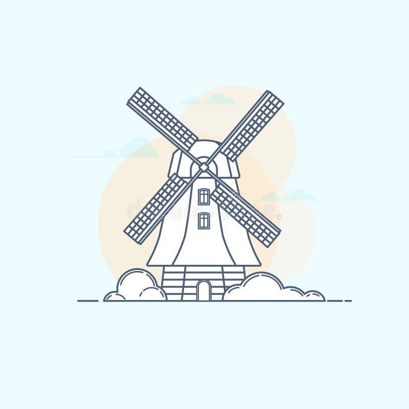 Dirigez l'illustration du moulin à vent rural traditionnel dans le styl linéaire illustration de vecteur