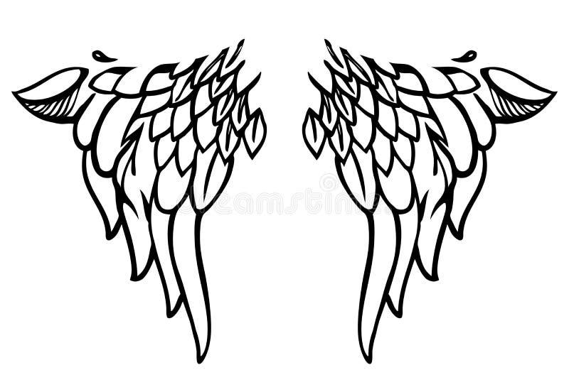 Ailes de style de tatouage ou de corps-art sur le blanc. Vecteur illustration de vecteur