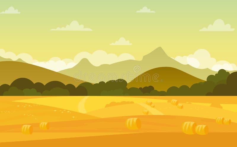 Dirigez l'illustration du paysage d'automne avec des champs et des montagnes au coucher du soleil avec le beau ciel dans des coul illustration libre de droits