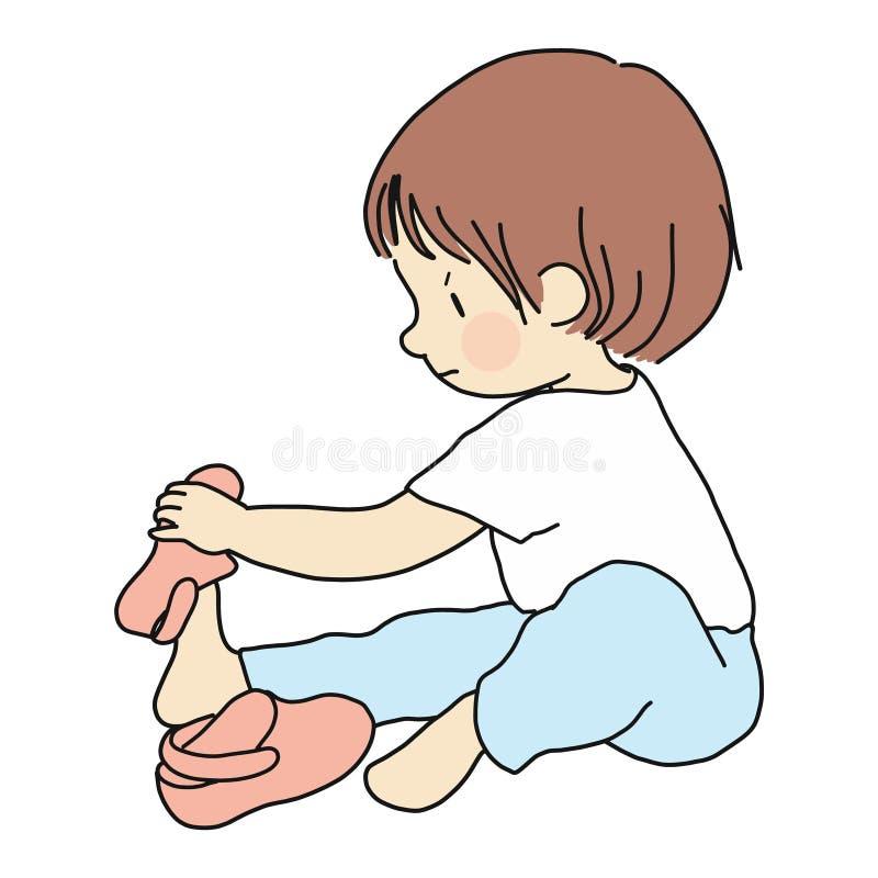 Dirigez l'illustration du petit enfant en bas âge se reposant sur le plancher et essayant de mettre dessus ses propres chaussures illustration stock